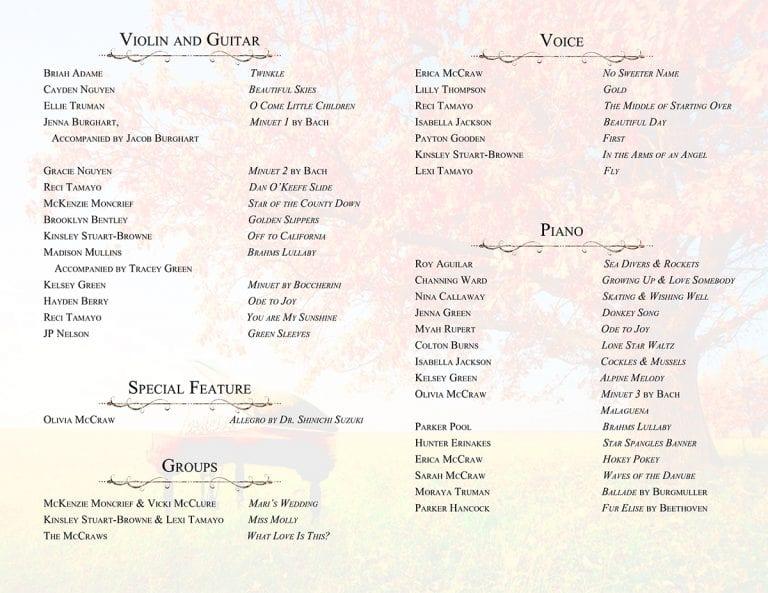 Fall Recital Program - Inside