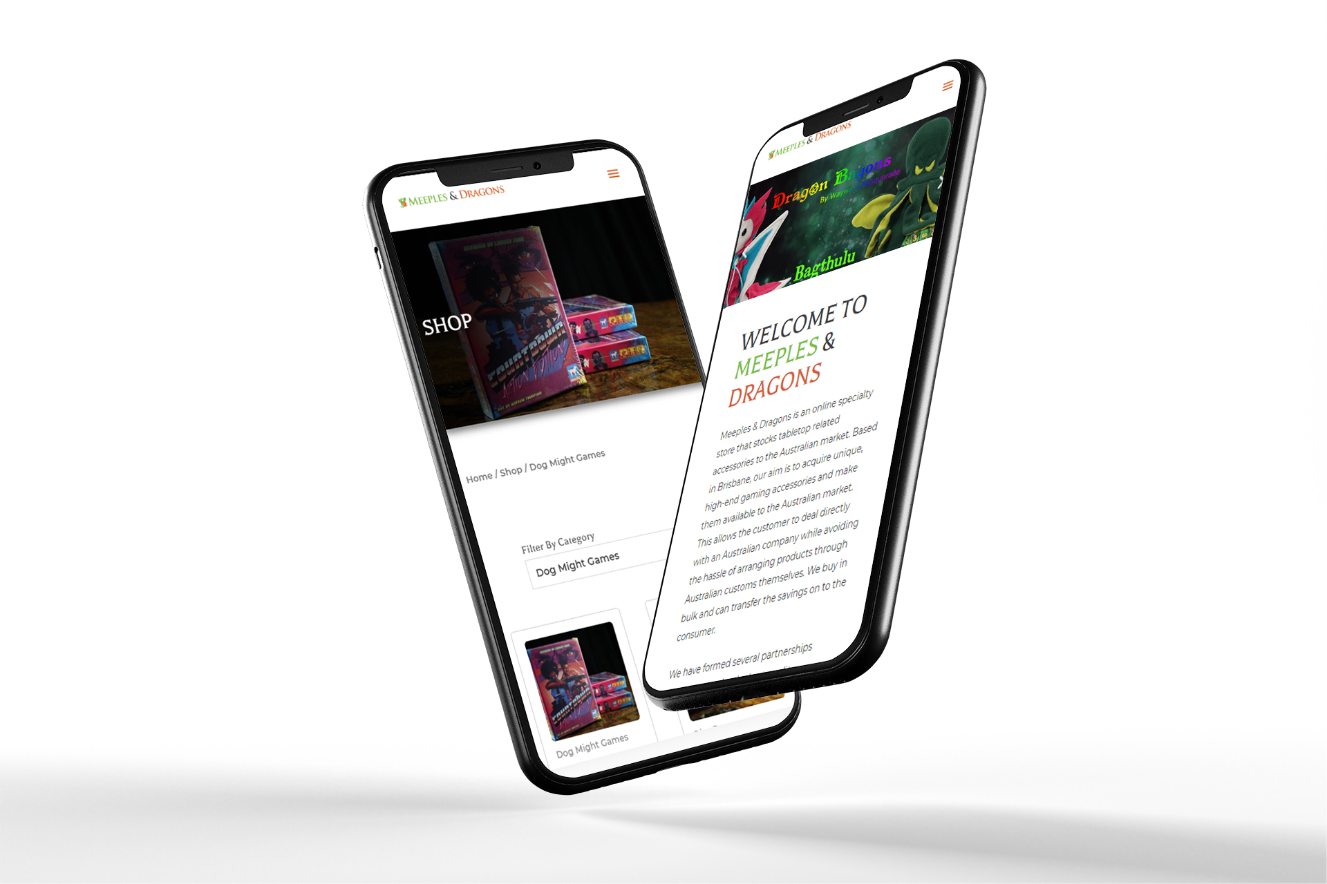 mobile website mockup