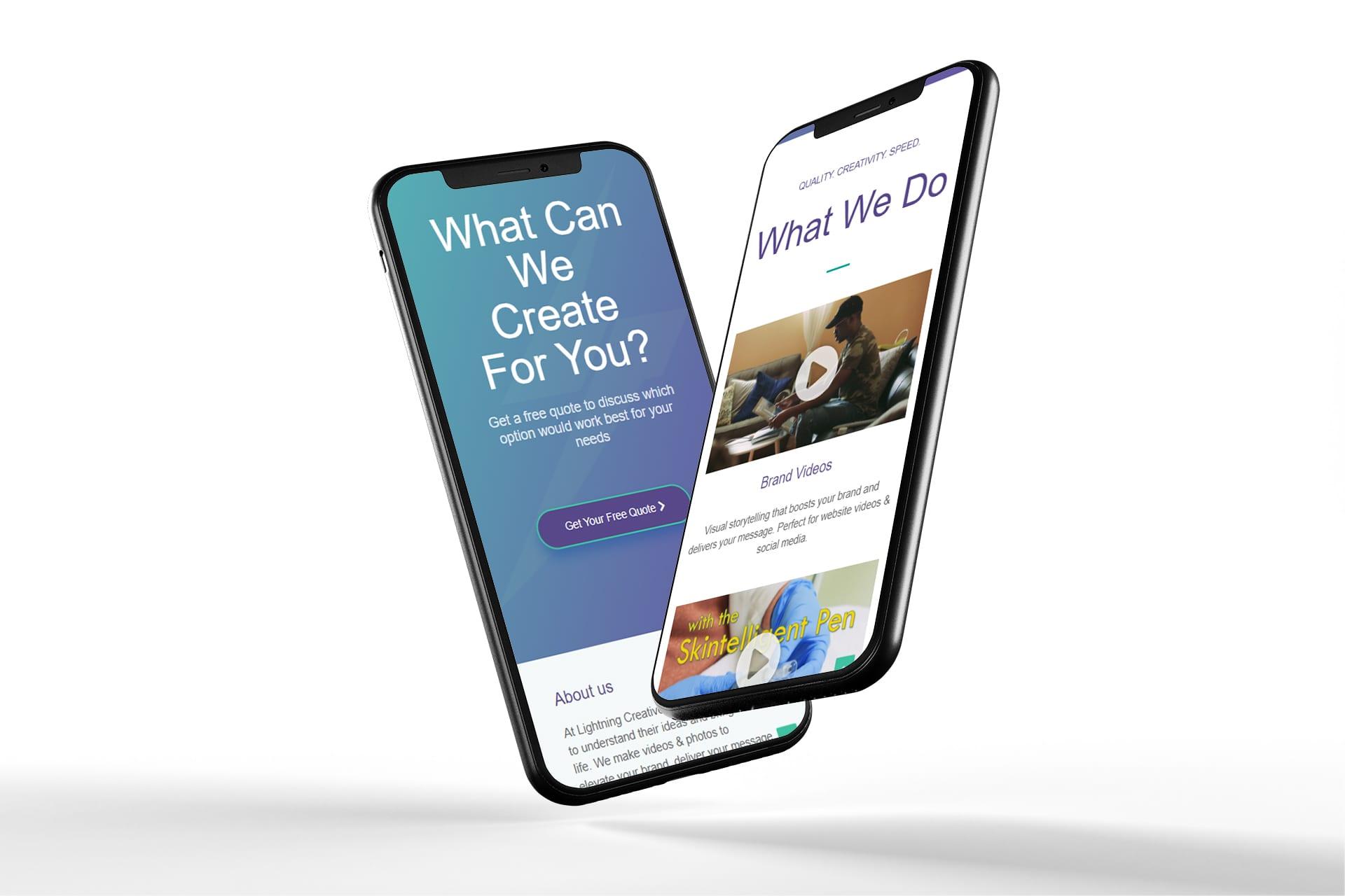 Lightning Creative responsive mobile website mockup