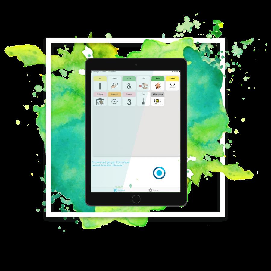device with watercolor bg- logo splatter